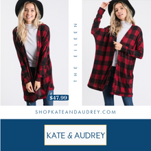 Load image into Gallery viewer, Red & Black Buffalo Cardigan