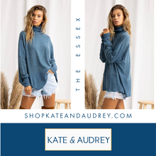 Load image into Gallery viewer, Ocean Blue Turtle Neck Sweater