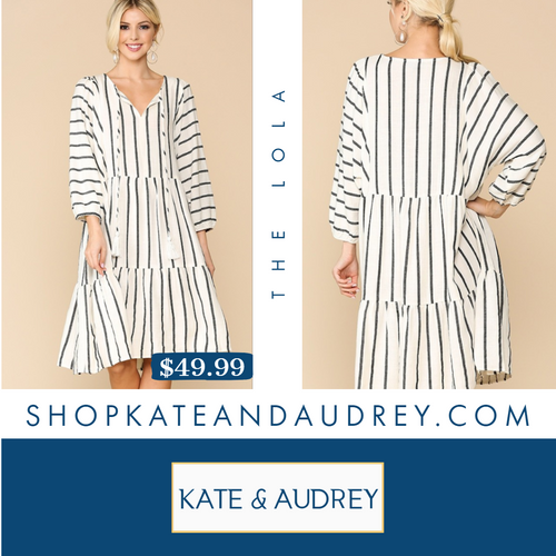 Striped White Linen Dress