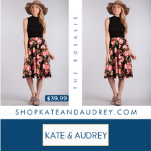 Load image into Gallery viewer, Floral A-Line Skirt