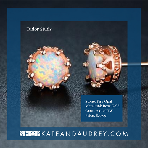Tudor Studs | 18k Rose Gold Opal Crown Earrings