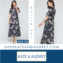 Load image into Gallery viewer, Navy Floral Shirt Dress