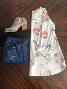 White Floral French Terry Top Instagram Flat Lay