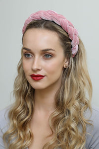 Blush Velvet Braided Headband