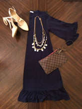 Load image into Gallery viewer, Navy Blue Midi Dress Instagram Flat Lay