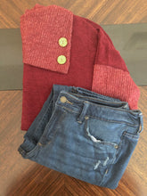 Load image into Gallery viewer, Maroon Cowl Neck Sweater Instagram Flat Lay