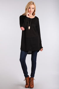 Black Elbow Patch Knit Sweater
