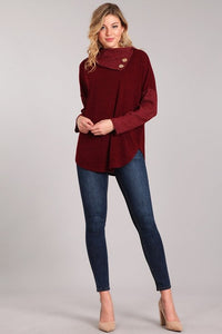 Maroon Cowl Neck Sweater