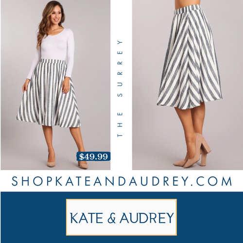 The Surrey | White & Navy Midi Skirt
