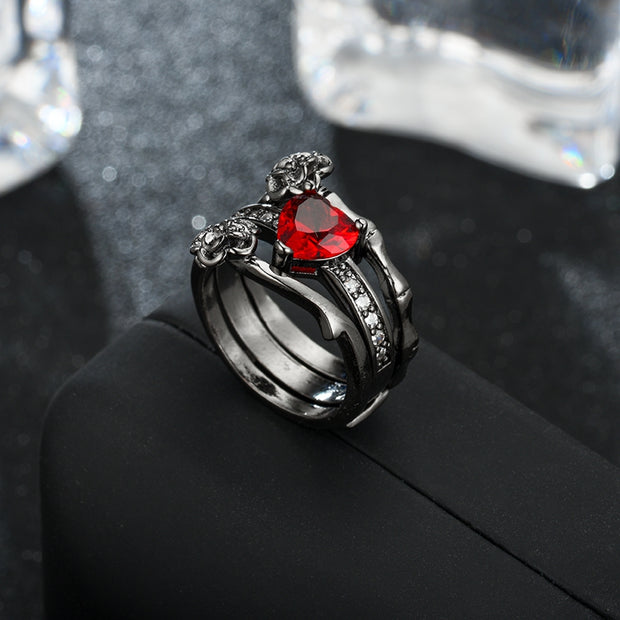 Women's Red Crystal Black Rose Flower Ring Set Wedding Jewelry - Roshyshine
