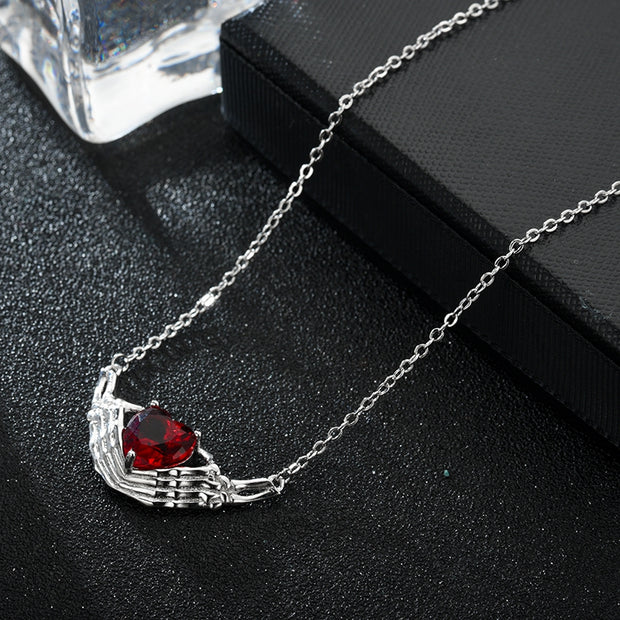 Hand Heart Zircon Crystal Necklace Women Silver Necklaces Wedding Jewelry - Roshyshine