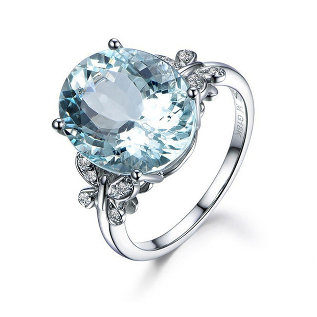 Fashion Natural Sea Blue Topaz Butterfly Ring - Roshyshine