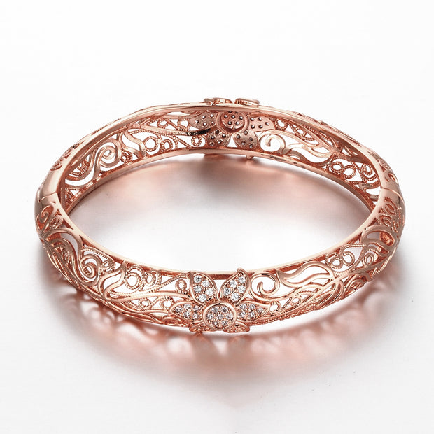 Fashion K Gold Zircon Carving Pattern Female Rose Gold Bracelet - Roshyshine