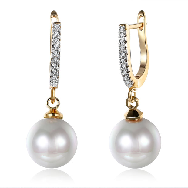 Zircon Drop Pearl Set Romantic Wind Earring  Clip For Women - Roshyshine