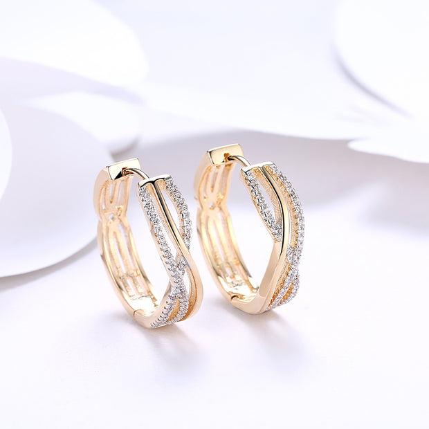 K Gold Zircon Earring Wire Stripe Diamond-Studded Romantic Wind Earring - Roshyshine
