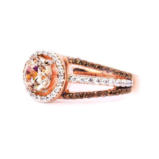 Luxury Exquisite Rose Gold Gemstone Diamond Charm Crystal Bride Princess Ring - Roshyshine
