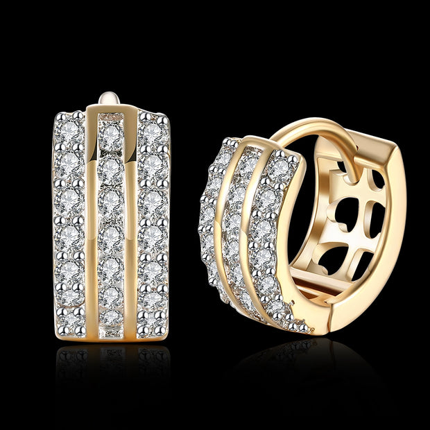Three Rows of Diamond Set Romantic Wind Earrings with K Gold Zircon Earring Clip For Ladies - Roshyshine