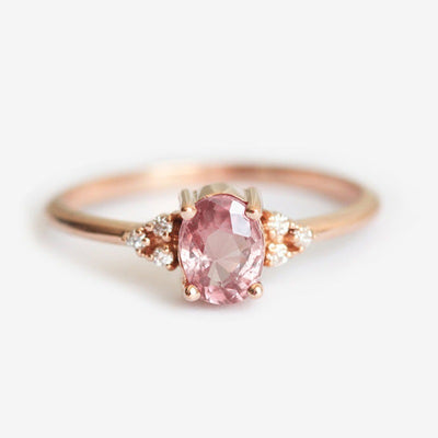 Delicate Lady Rose Gold Filled Diamond Cluster Peach Sapphire Ring - Roshyshine