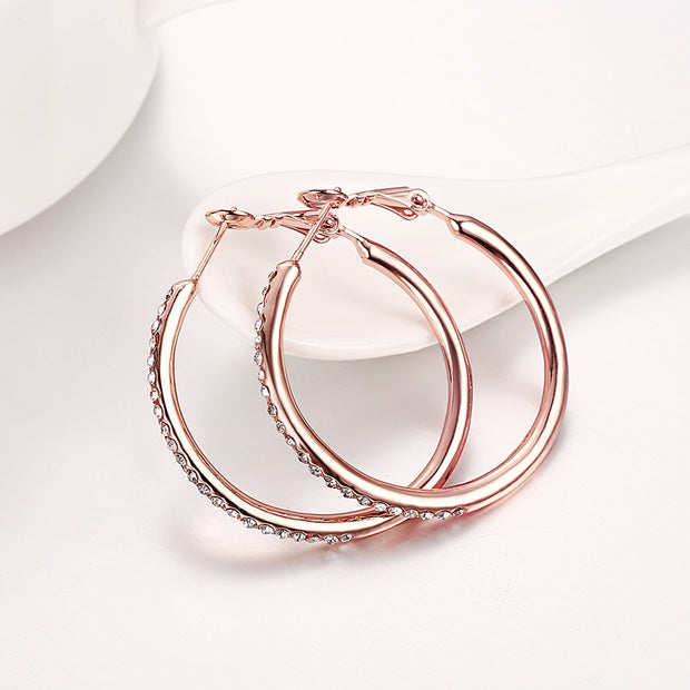 Rose Gold Round Czech Diamond Earrings - Roshyshine