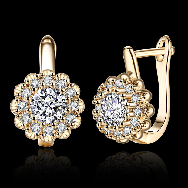 K Gold Zircon Earring Buckle Romantic Diamond Set Earring Clip - Roshyshine