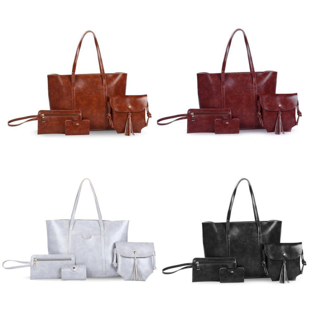 4pcs Women Tote Handbag Shoulder Crossbody Bag - Roshyshine