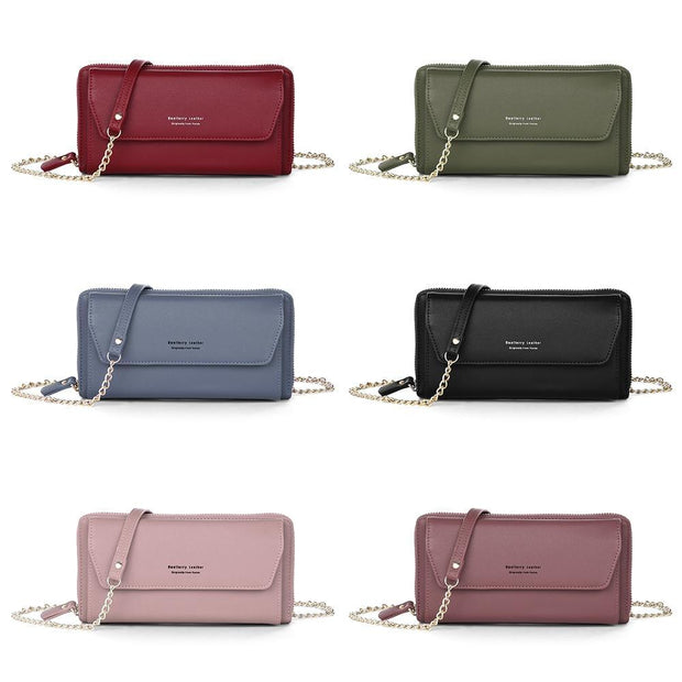 Baellerry Women PU Leather Chain Crossbody Shoulder Phone Bag Long Wallet - Roshyshine