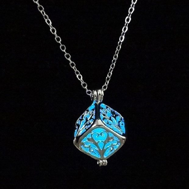 Charm Silver Cube Light Necklace Women Glowing Pendant Jewelry - Roshyshine