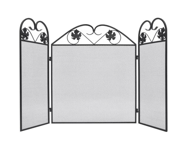 3-panel Fireplace Screen Iron Black  242005 - Roshyshine