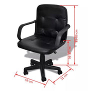 Black Mixed Leather Office Chair 59 x 51 x 81 - 89 cm for Professional - Roshyshine