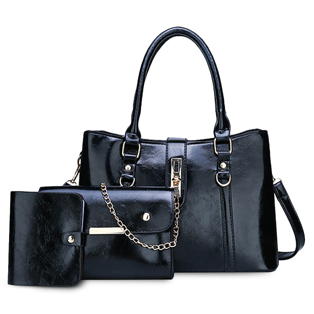 Buckle Design 3Pcs Retro Handbag Set