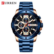 CURREN Watches Men Stainless Steel Band Quartz Wristwatch Military Chronograph Clock Male Fashion Sporty Watch Waterproof 8336