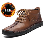 Men Boots Genuine Leather Fur Snow Boots with Waterproof  Footwear, Male Casual Men shoes Fashion