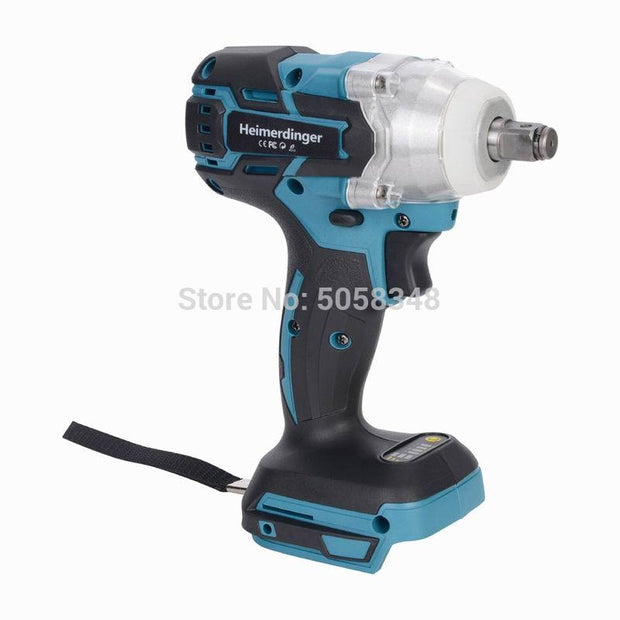 Electric Rechargeable Brushless Impact Wrench Cordless without Battery&accessories (Blue)