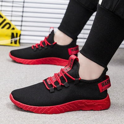 SHUJIN Men Breathable Sneakers No-slip Vulcanize Shoes Air Mesh Lace Up Wear-resistant Casual running shoes