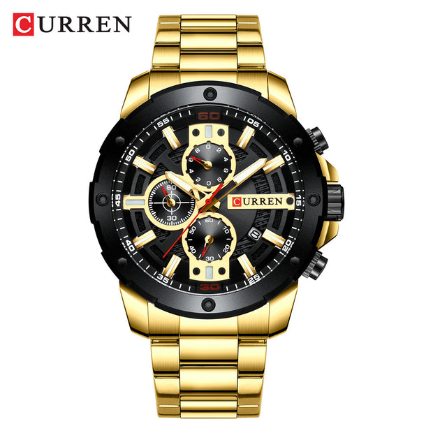 Men Watches Stainless Steel Band Quartz Wristwatch Military Chronograph Clock Male Fashion Sporty Watch Waterproof