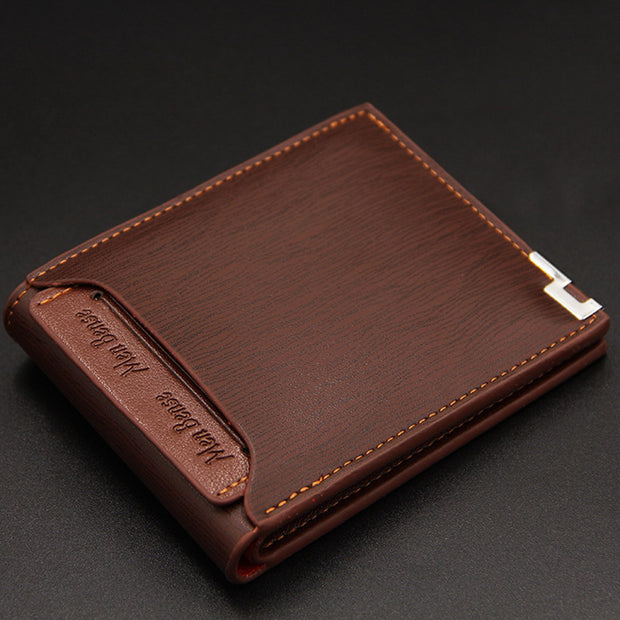 Men Wallet Leather Card Holder Fashion New Card Purse Fashion Multifunction for Credit Cards Male Iron Edge  Hombre