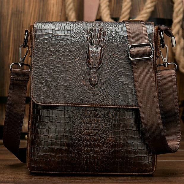 Alligator Men/'s Leather Messenger Bags Briefcase Shoulder Bag Crossbody Handbag