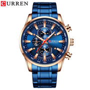CURREN Black Gold Watch for Men Fashion Quartz Sports Wristwatch Chronograph Clock Date Watches Stainless Steel Male Watch