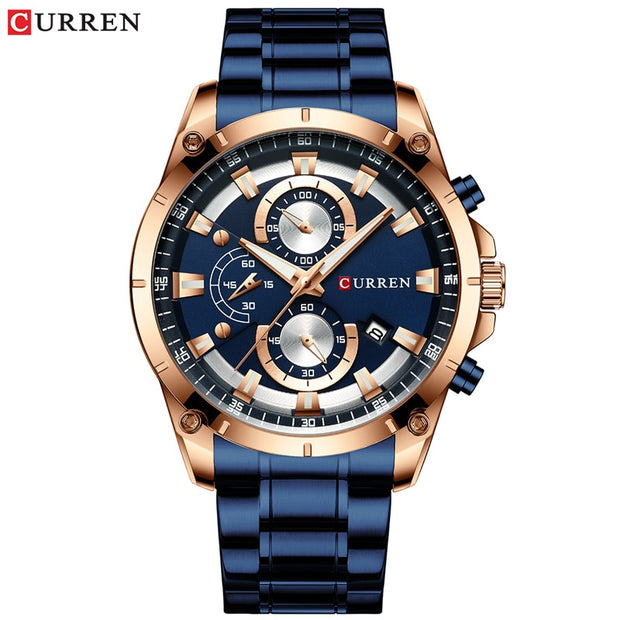 Creative Design Watches Men Luxury Quartz Wristwatch with Stainless Steel Chronograph Sport Watch Male Clock Relojes