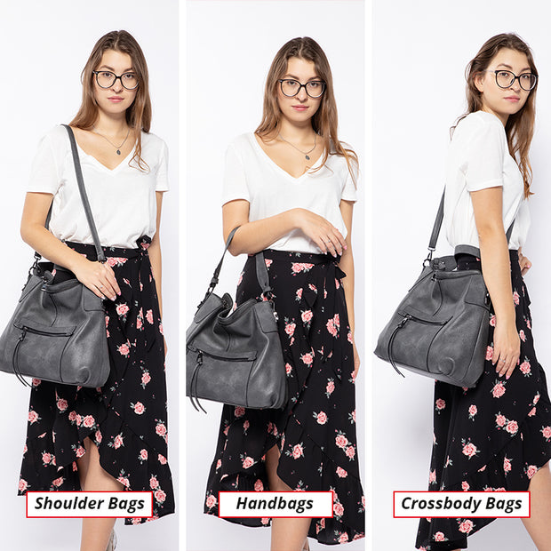 REALER women shoulder bag Large hobos Totes bag crossbody messenger bags for women 2019 luxury handbag PU leather gray hand bag