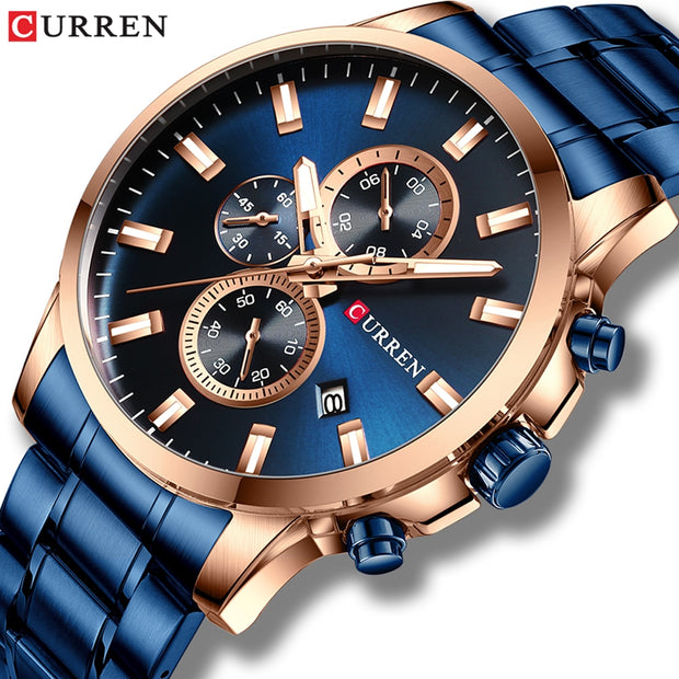 CURREN Luxury Brand Sports Quartz Watches Men Watch with Luminous Hands Chronograph Auto Date Fashion Stainless Steel Wristwatch