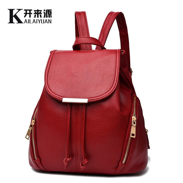 Women Leather backpack 2020 New tide women's backpack spring and summer new students fashion casual bag