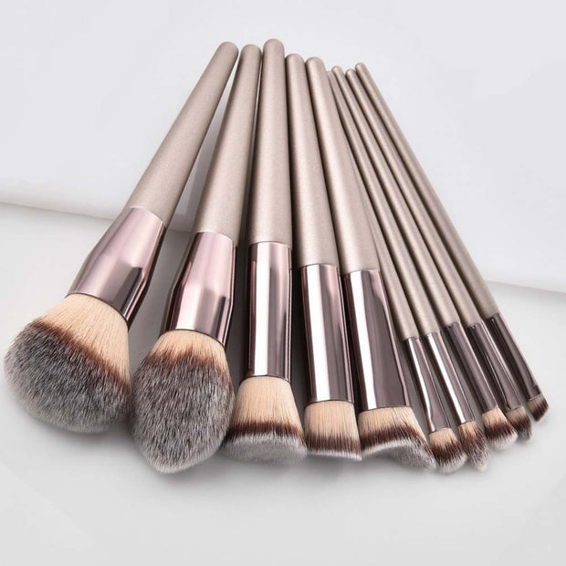 Luxury Champagne Makeup Brushes Set For Foundation Powder Blush Eyeshadow Concealer Lip Eye Make Up Brush Cosmetics Beauty Tools - Roshyshine