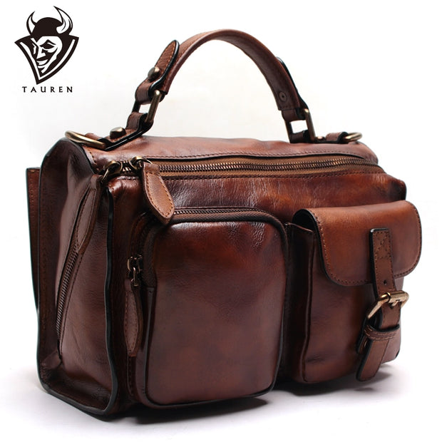 New Hand-Wiping Female Handbag Leather Shoulder Bag Messenger Bag Retro Vegetable Tanned Leather Suede Leather Bag - Roshyshine