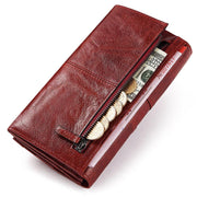 GZCZ Genuine Leather Women Fashion Clutch Wallet Female Coin Purse Portomonee Clamp For Phone Bag Long Lady Handy Card  Holder