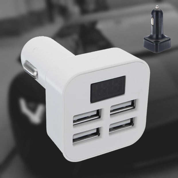 Variety Compatible LED Car USB Adapter Charger Charging Metal Socket 4 Port For Mobile Phone  ROCK Fast Charge for iphone8