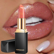 Brand Professional Lips Makeup Waterproof Shimmer Long Lasting Pigment Nude Pink Mermaid Shimmer Lipstick Luxury Makeup Cosmetic - Roshyshine