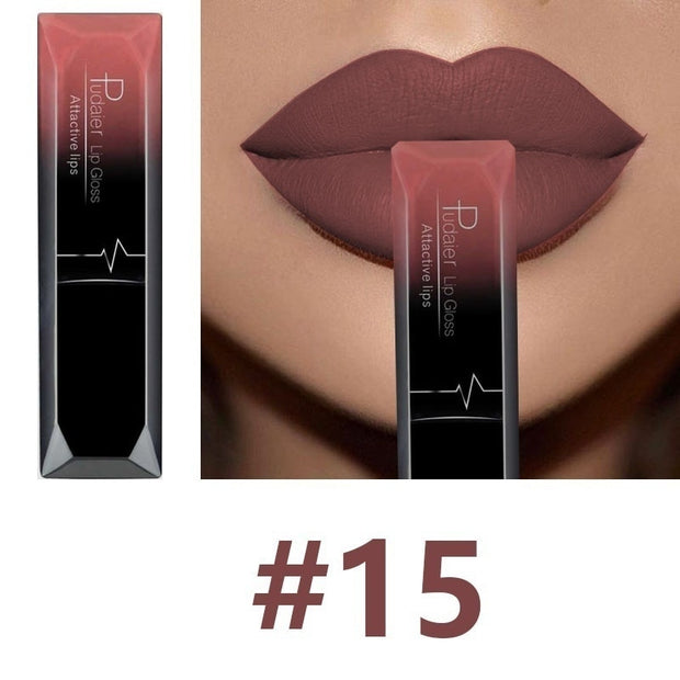 Hot Sales Waterproof Nude Matte Velvet Glossy Lip Gloss Lipstick Lip Balm Sexy Red Lip Tint 21 Colors Women Fashion Makeup Gift - Roshyshine