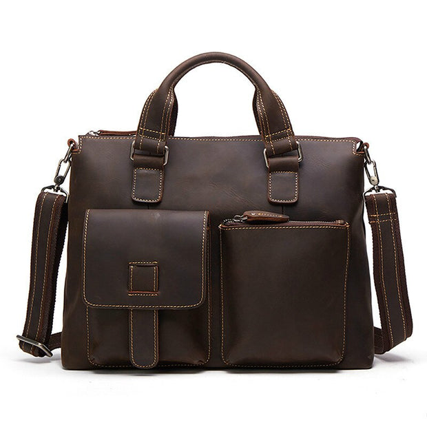 2019 Fashion Cowhide Male Commercial Briefcase Real Leather Vintage Men's Messenger Bag Casual Natural Cowskin Business Bag GW02