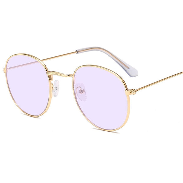 Women or Men Classic Small Frame Round Sunglasses, Brand Designer Alloy Mirror Sun Glasses Vintage